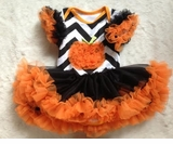 Chevron Pumpkin Tutu Bodysuit Dress with Leg Warmers