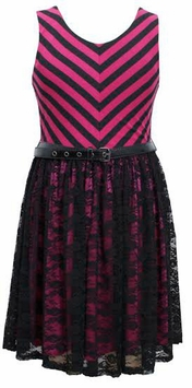Chevron Striped Lace Overlay-Skirted Dress