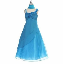 Chic Baby Little Girls Turquoise Charmeuse Organza Occasion Dress
