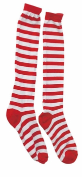 Childs Red and White Striped Socks