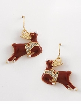 Christmas Earrings Red Reindeer with Rhinestones