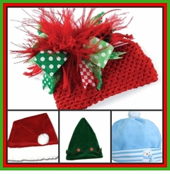 Christmas Hair Bows, Hats & Headbands