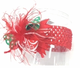 Christmas Headband Red Green Feather Crochet