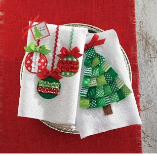 Christmas Linen Towel Ornament or Tree Towel