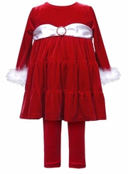 Baby Girls Christmas Red Velour Tunic and Legging Set  12 - 24 months
