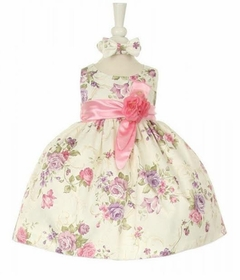 Cinderella Couture Baby Girls Rose Printed Jacquard Baby Dress