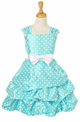 Cinderella Couture Girls Aqua Dot Pickup Dress