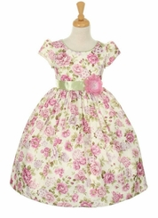 Cinderella Couture Girls' Lavender Rose Bouquet Jacquard Flower Girl Dress