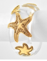 Clear Gold Starfish Hinged Bangle Bracelet