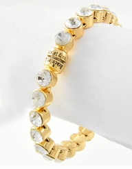 Clear Rhinestone Stud Gold Magnetic Closure Bracelet