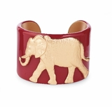 College Days Mascot Medallion Cuff Burgundy Elephant : Women's Fashion Braclets