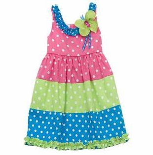 Colorblock Polka Dot Dress With Butterfly Applique