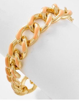 Coral & Gold Linked Braclet