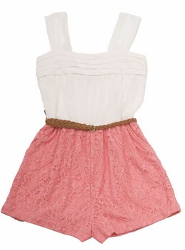 Ivory Chiffon Bodice Lace Shorts Romper - SOLD OUT