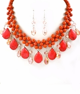 Coral Semi Precious Stone and Bead Bib Necklace Set - sold out