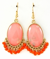 Coral Semi Precious Stone Drop Earrings