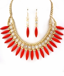 Red Spike Fringe Stone Statement Necklace Set
