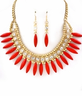 Coral Spike Fringe Stone Statement Necklace Set