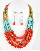 Coral Tribal Beaded Necklace Set
