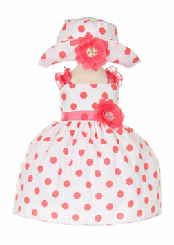 Baby Easter Dress Coral Dot Party Dress with Hat