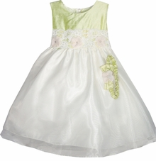 Crayon Kids Baby Dress : Sage Shantung Ivory Party Dress and Headband