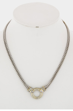 Crystal Circle Necklace Silver and Gold Plated Two Tone Necklace - SOLD OUT