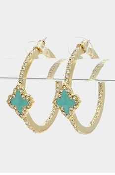 Crystal Clover Earrings Silver Rhodium Plated and Turquoise