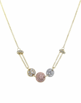 Crystal Pave Disc Necklace Tritone Metals