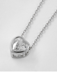 Cubic Zirconia Valentine's Heart Necklace