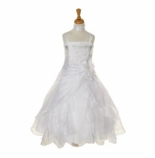 Dazzling Girls Dress Crystal Organza with Sash - WHITE