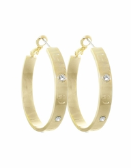 Designer Inspired Gold and Rhinestone Hoop Earrings