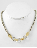 Designer Inspired Gold and Silver Braid Links Two Tone Necklace