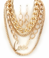 "Designer Inspired Multi Chain Gold Tone ""Cool"" Necklace Set"
