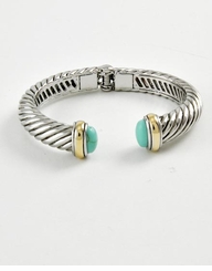 Designer Inspired Silver Twist Turquoise Cuff Bracelet - SOLD OUT