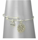 Destiny Sun Silver Plated Bangle Bracelet - Adjustable Bracelet