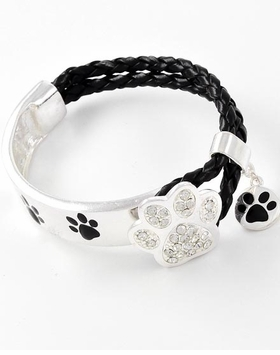 Dog Lover's Jewerly :  Black Silver Paw Print Bracelet - sold out