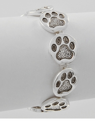 Dog Lover's Silver Paw Print Bracelet  sold out