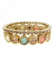 Double Row Crystal Pave Stretch Bracelet - Gold Peach Mint Combination