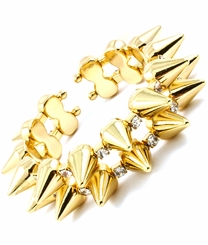 Double Row Gold and Crystal Spike Stretch Cuff Bracelet - sold out