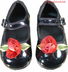 Dressy Toddler Shoes - Black Patent w/ Roses  INFANT SIZE 3
