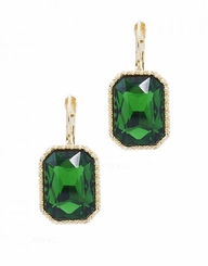 Emerald Green , Gold Rectangle Drop Earrings with Lever Back