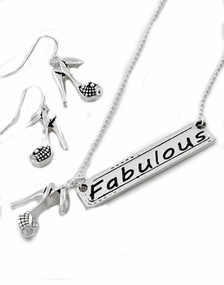 """""""Fabulous""""  and Fashionable Reversible Pendant Necklace and Earrings Set"""