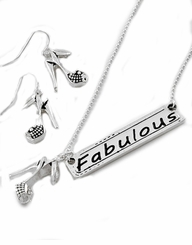 """Fabulous""  and Fashionable Reversible Pendant Necklace and Earrings Set"