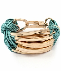 Fashionable Teal Multi Cord Gold Tone Bracelet