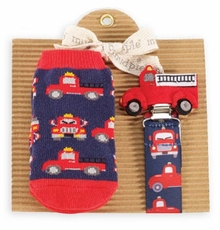 Firetruck Sock and Pacy Set by Mud Pie