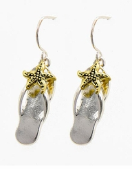 Flip Flops Dangle Earrings Gold and Silver Plated Two Tone - sold out