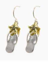 Flip Flops Dangle Earrings Gold and Silver Plated Two Tone