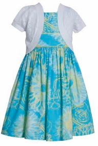 Floral Aqua Dress with White Pointelle Sweater SALE 4-6X