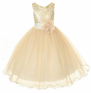Flower Girl Dress - Gold Sequin Double Mesh Special Occasion Dress - SOLD OUT