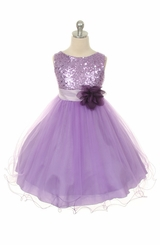 Flower Girl Dress -  Lavender Sequin Double Mesh Special Occasion Dress